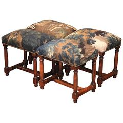 19th Century French Suite of Four Carved Walnut Stools with Aubusson Tapestry
