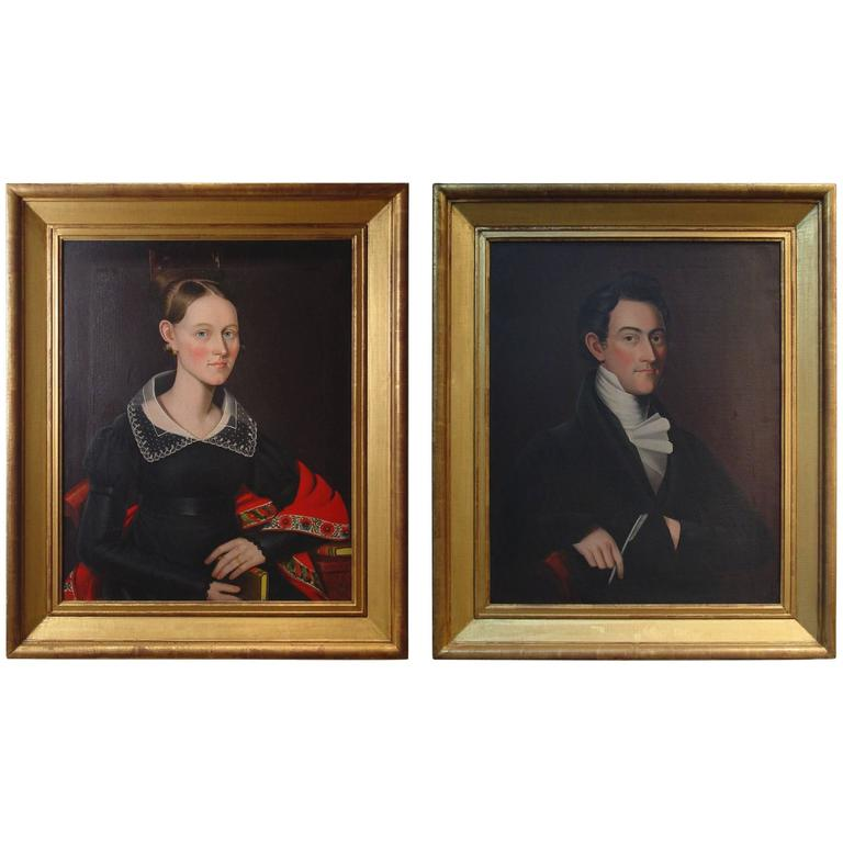 Pair of Portraits of a Lady and Gentleman Attributed to Ammi Phillips