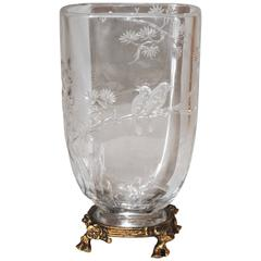 Japonisme Cutted Crystal Vase Attributed to Maison Baccarat with Ormolu Mount