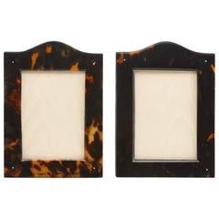 Pair of Antique Tortoiseshell Picture Frames with Arch Top Date circa 1910-1915