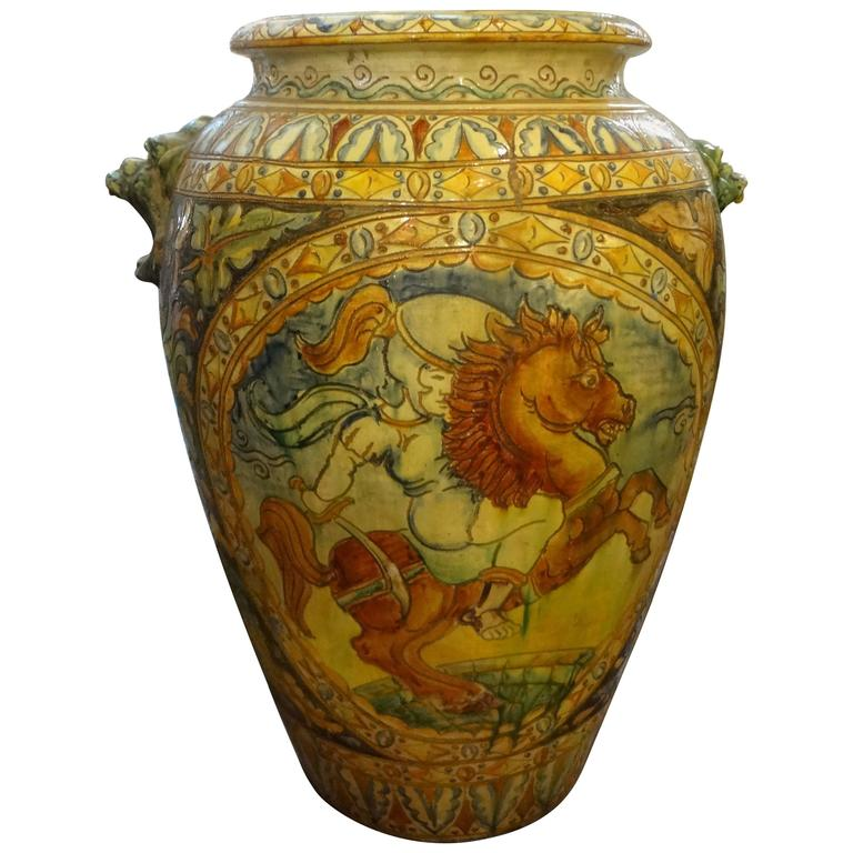 Large Italian Glazed Terra Cotta Urn with Horse Motif