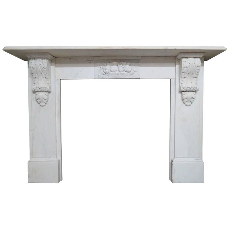 Statuary White Marble Antique Fireplace Mantel For Sale
