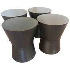 Four Metal Drum Style Tables Stool Benches