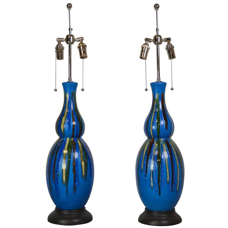 Pair of Vintage Double Gourd Glazed Lamps
