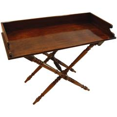 19th Century Mahogany English Butler's Tray Table on Folding Turned Base, 1860