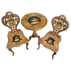Exquisite Swiss Black Forest 19th Century Carved Table and Chair Set