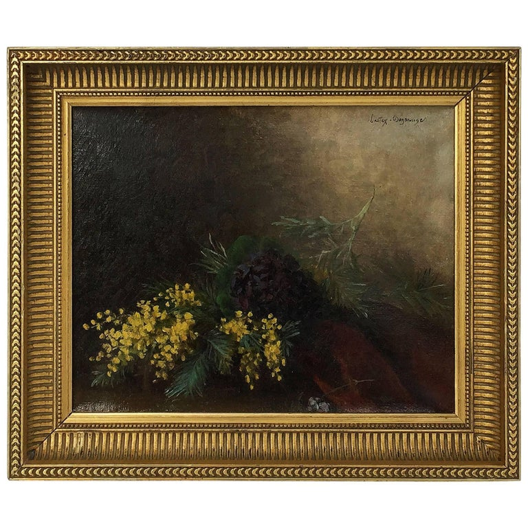 French Framed Oil Painting, Still Life by Adolphe Louis Castex-Degrange For Sale