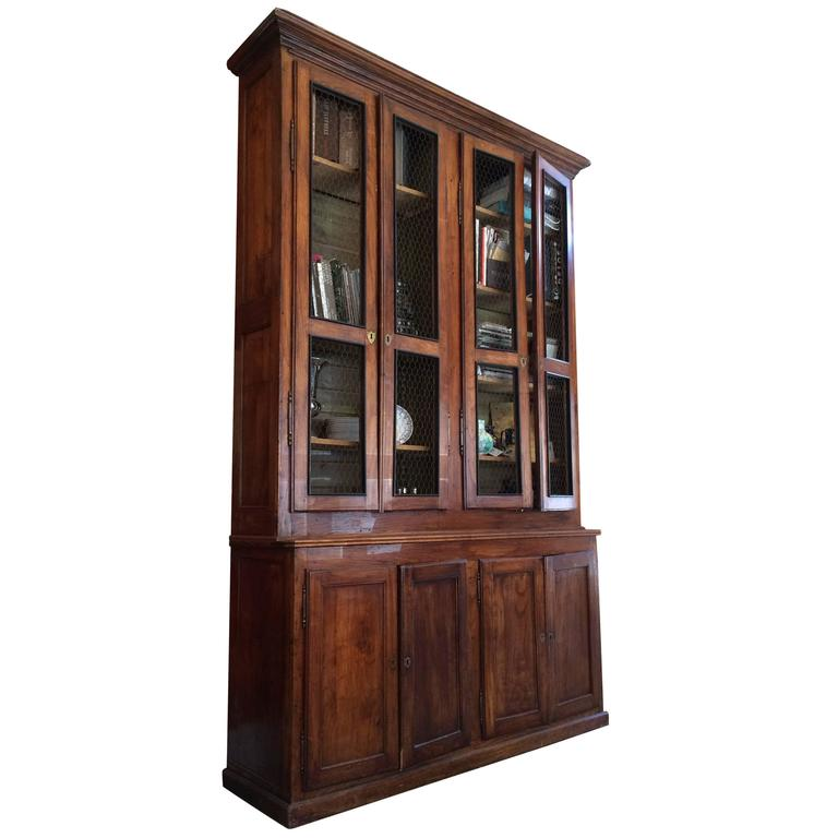 Fantastic Tall Mahogany Antique Bookcase Cabinet For Sale