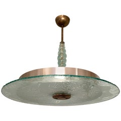 Swedish 1940s Moderne Glass Pendant