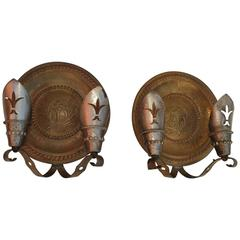 Rare Pair of Large Spanish Brass and Wrought Iron Sconces