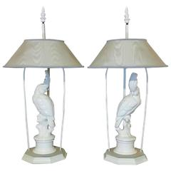 Pair of Ceramic Cockatoo Table Lamps