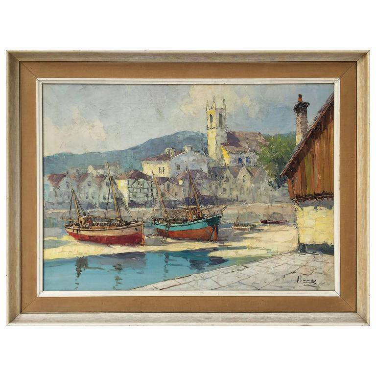 French Framed Oil Painting On Canvas Of A Harbor Scene For Sale At