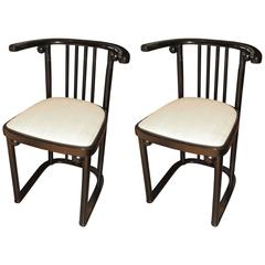Pair of Re-Edition Series 728 Chairs Originaly Desiged Josef Hoffmann
