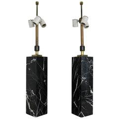 Exquisite Pair of Black Marble Column Lamps by T.H. Robsjohn-Gibbings for Hansen