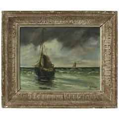 French Oil Painting on Board of Sailing Ships by H. Kermao