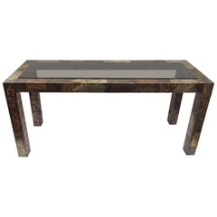 Paul Evans Mixed Metal Patchwork Table with Smoked Glass