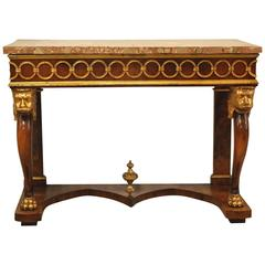 19th Century Italian Walnut Marble-Top Console with Gilt Lion Carvings