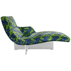 Vladimir Kagan Erica Lounge Chair Chaise with Lucite Base and Original Fabric