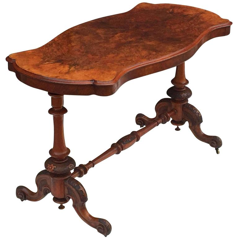 English Library or Sofa Table of Burr Walnut 1