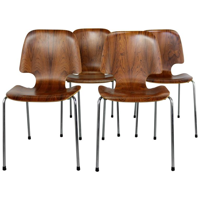 Superieur Danish Mid Century Modern Bent Rosewood Chairs With Italian Bases For Sale