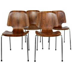 Danish Mid-Century Modern Bent Rosewood Chairs with Italian Bases