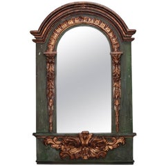 19th Century French Painted Mirror with Carved and Gilded Detailing