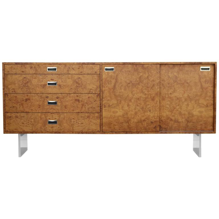 Custom 1972 Burl and Lucite Credenza by Harvey Probber For Sale