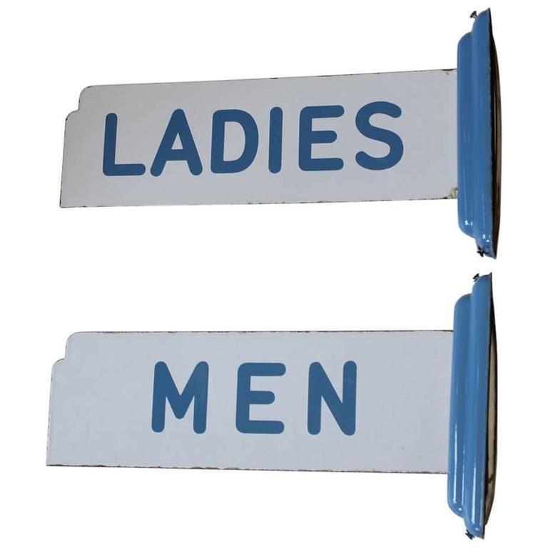 Art Deco Porcelain Men and Ladies Restroom Signs