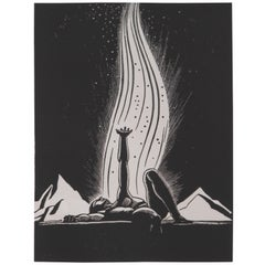 "Art Deco 1939 Rockwell Kent ""Flame"" Original Block Print Calendar"