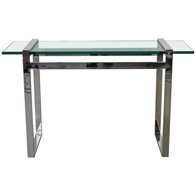 Cy Mann Chrome and Glass Console Table For Sale