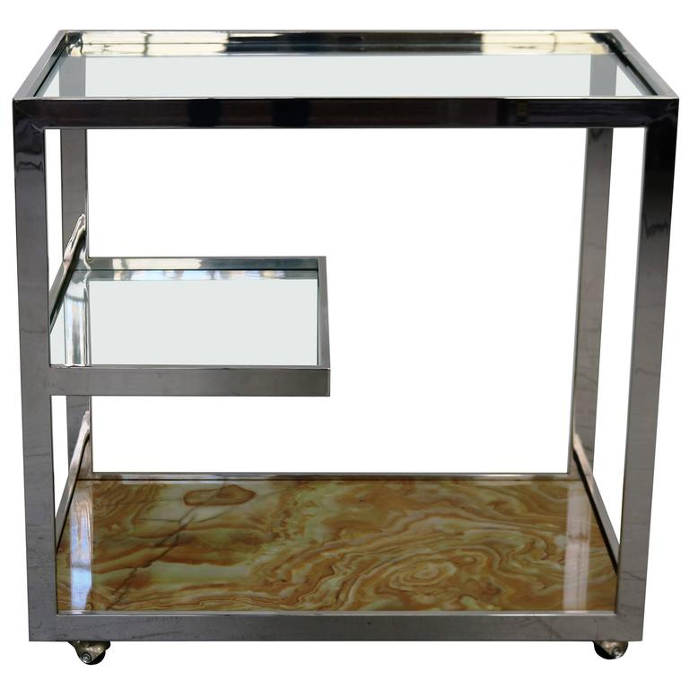 Cy Mann Chrome Glass and Onyx Bar Cart