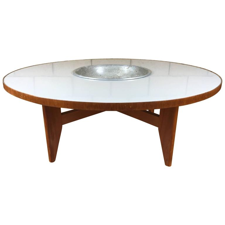 Rare Early Transitional George Nelson Round Coffee Table With Planter At 1stdibs