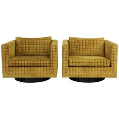 Pair of Harvey Probber Swivel Cube Club Chairs with Wood Bases