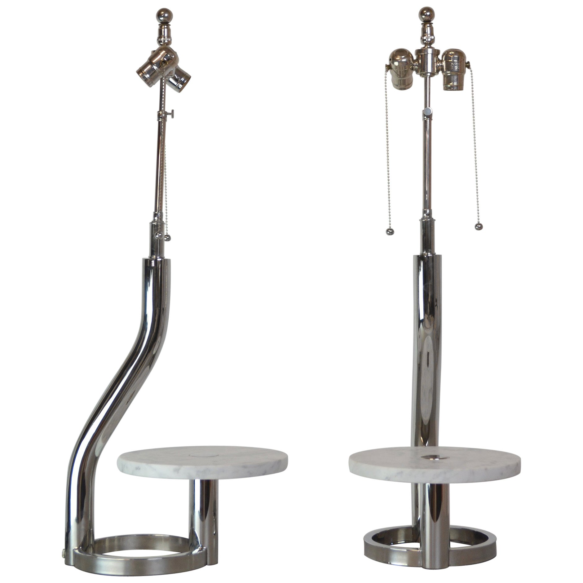 Pair of 1980s Chrome and Marble Lamps