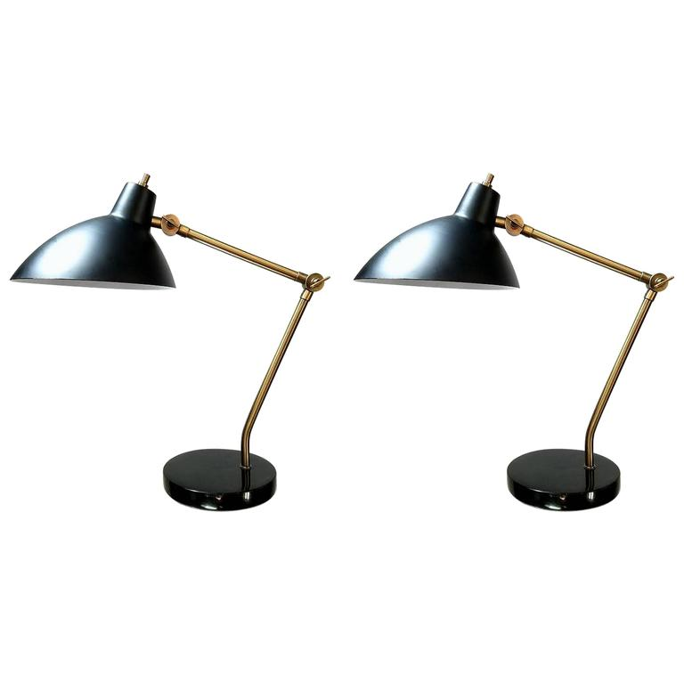 Pair of Adjustable Desk Lamps For Sale