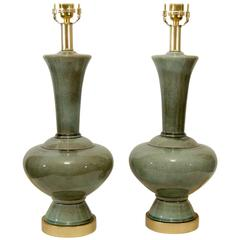 Excellent Pair of Celadon Glazed and Gilt Ceramic Lamps