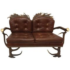 Antique Habsburg Red Stag and Fallow Deer Tufted Leather Settee