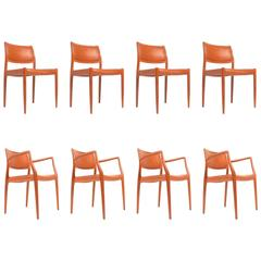Set of Eight J.L. Møller Model 80 Dining Chairs by Niels Møller in Leather