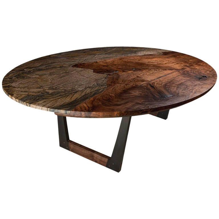 Modern Granite and Bastogne Walnut Oval Dining Table with Wood and Steel Base For Sale