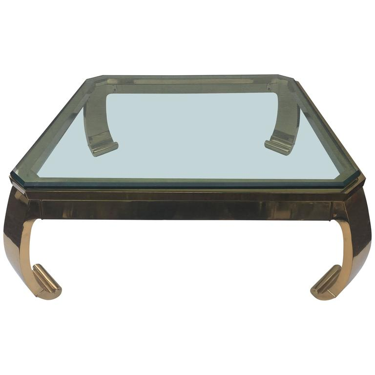 Asian Inspired Brass and Glass Coffee Table attributed to Mastercraft