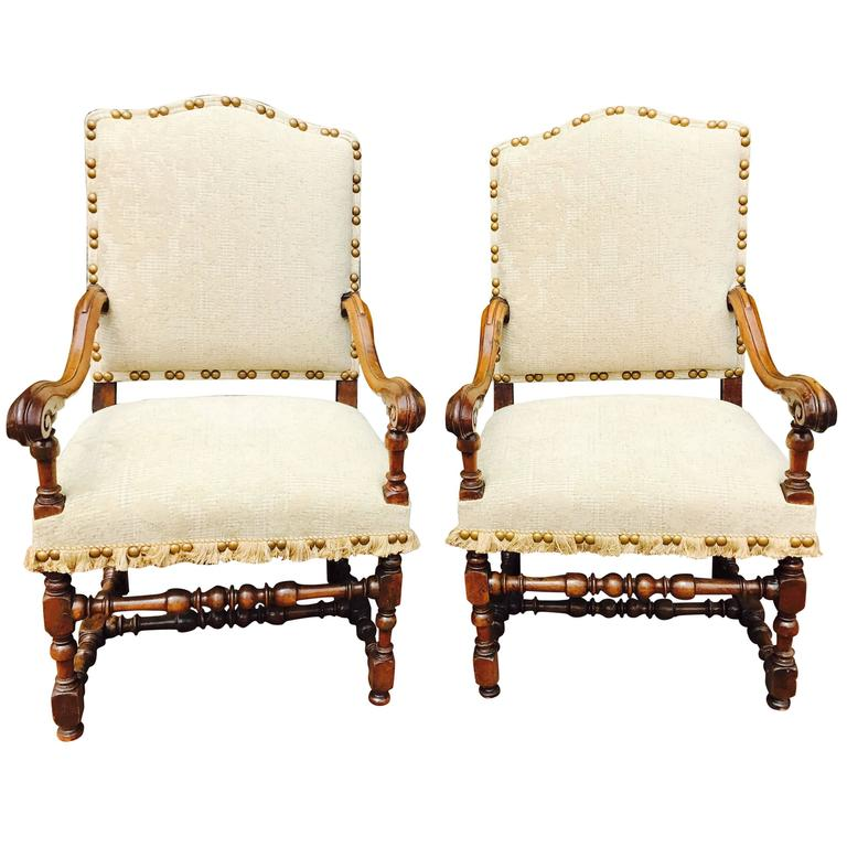 Fine Pair of Louis XIV Period 17th Century Armchairs