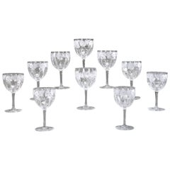 12 Hand Blown Signed Libbey Wheel Cut Crystal Goblets Arts & Crafts Floral Motif