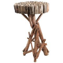 Early 19th Century Rustic Twig Side Table