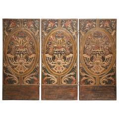 Three-Panel Spanish Cordovan Painted Gilt Leather Screen with Birds and Flowers