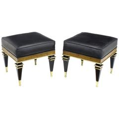 Pair of Biedermeier Style Benches in Ostrich Stamped Leather by Weiman