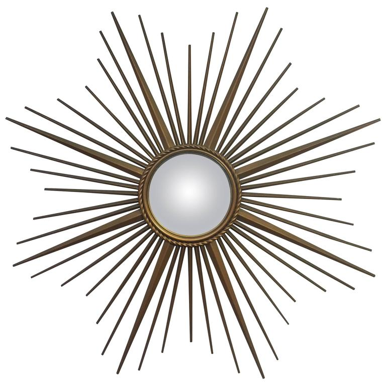 French Gilt Metal Sunburst or Starburst Mirror by Chaty Vallauris For Sale