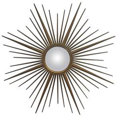French Gilt Metal Sunburst or Starburst Mirror by Chaty Vallauris