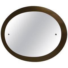 Oval Beveled Mirror with a Smoked Mirror Border, Italy, circa 1970