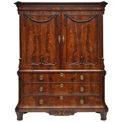 Magnificent 18th Century Mahogany Neoclassical Dutch Cabinet