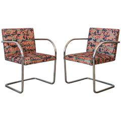 Pair of Knoll Brno Tubular Chairs Covered in Custom Lagerfeld Upholstery